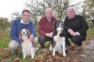 Left to right John Howie, John Davies, Nigel Pittman Dogs  – Pippa (Welsh Springer Spaniel) and Jasmine - Moroccan Mountain Dog