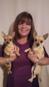 Karen with resuce dogs Bella and Chico