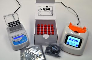 Image shows test and treat UTI test kit